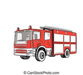 火, truck.
