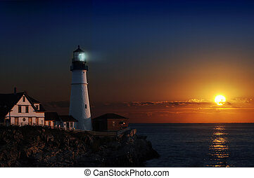 灯台, 夜明け