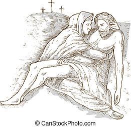 灰色, キリスト, 隔離された, 交差点, 死んだ, イエス・キリスト, 洗いなさい, calvary, 背景, 母, 白, mary