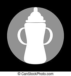 灰色, 印。, バックグラウンド。, 黒, びん, 赤ん坊, 白い円, アイコン