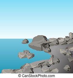 灰色, 景色。, shore., イラスト, 海, stones., 石