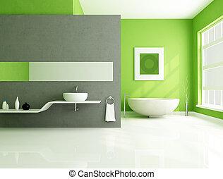 灰色, 浴室, 緑, 現代