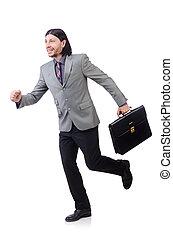 灰色, 若い, 隔離された, スーツ, ビジネスマン, 白