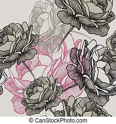 灰色, illustration., drawing., パターン, seamless, 手, ばら, ベクトル, 咲く, 背景