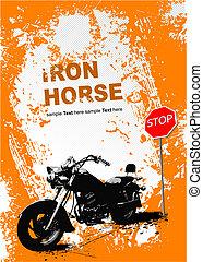 灰色, image., イラスト, ベクトル, オートバイ, 背景, オレンジ