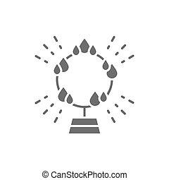 炎, 活躍の舞台, icon., 灰色, 円, 火, リング, サーカス