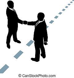 点を打たれた, ビジネス 人々, 握手しなさい, 線, 同意しなさい