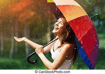 点検, 女, 傘, 笑い, 雨