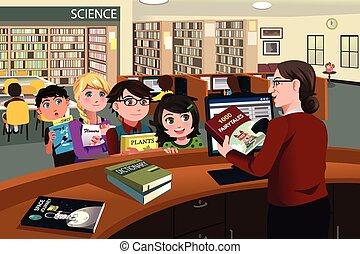 点検, 子供, 本, 図書館, から