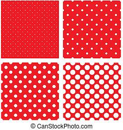点, パターン, 白, ポルカ, 赤