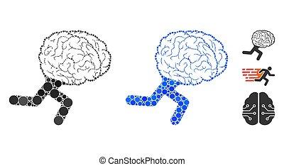 点, ラウンド, アイコン, 脳, 動くこと, 構成