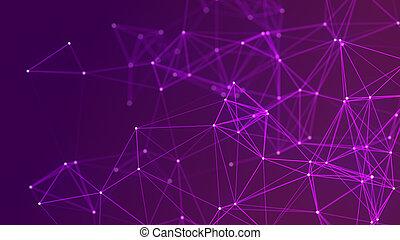 点, 動的, rendering., ネットワーク, 構造, 接続, 抽象的, 3d, lines., 未来派, バックグラウンド。