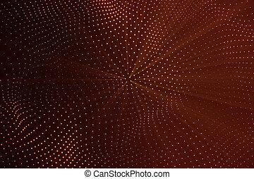 点, structure., レンダリング, 波, 噛み合いなさい, 抽象的, dots., ライン, lines., poly, 波, polygonal, 流れ, 接続, flow., 接続, 低い, 背景, 赤, 3d