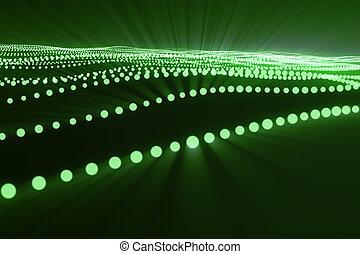 点, structure., レンダリング, 波, 噛み合いなさい, 抽象的, dots., ライン, lines., poly, 波, polygonal, 流れ, 接続, flow., 接続, 低い, 背景, 緑, 3d