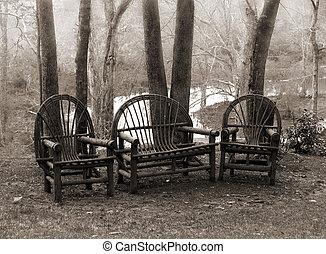 無作法, 椅子, 芝生