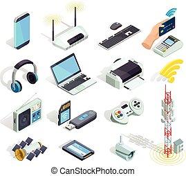 無線, アイコン, セット, 装置, 等大, 技術