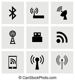 無線, ベクトル, セット, アイコン