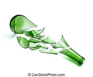 無駄, びん, 飲みなさい, 壊される, 緑, アルコール