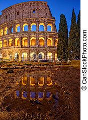 照らされた, たそがれ, colosseum, ローマ