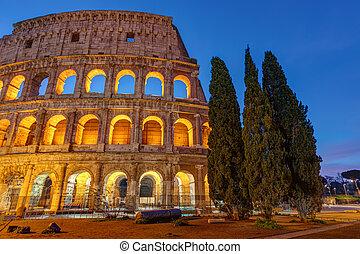 照らされた, colosseum, ローマ