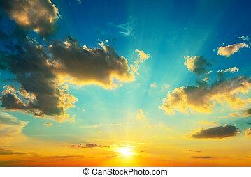 照らされた, sunlight., 雲, sunset.