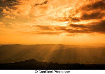 照ること, によって, 背景, 雲, ライト, 暗い, 光線