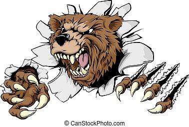 熊, によって, 破れる, 背景