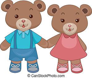 熊, テディ, おもちゃ, 手を持つ