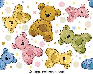 熊, seamless, テディ