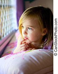 熟視, 彼女, 若い, ベッド, 見る, w, 寝室, 女の子, から