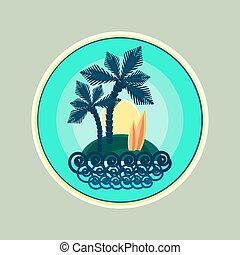 熱帯 島, 日光, イラスト