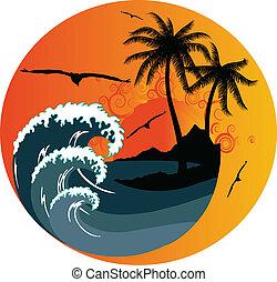 熱帯 島, 海洋 波
