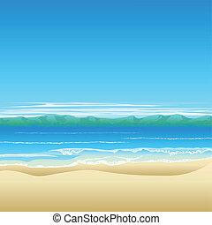 熱帯 浜, 背景, イラスト
