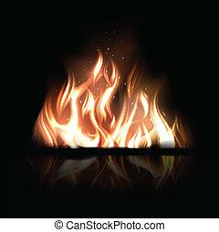燃焼, 火, イラスト, ベクトル, 黒い背景