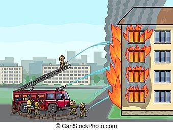燃焼, 火, house., クルー, トラック, extinguishes