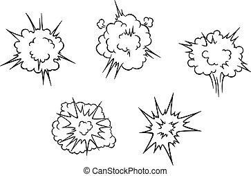 爆発, 雲, 漫画