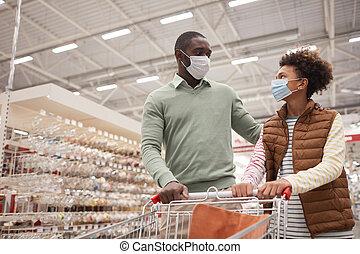 父, 買い物, 息子, スーパーマーケット