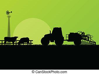 牛肉, フィールド, 牛, イラスト, ベクトル, トラクター, 背景, 耕される, 国, 農業, 風景