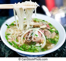 牛肉, 伝統的である, スープ, pho, ベトナム語, ヌードル
