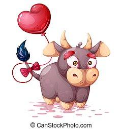 牛, 面白い, 漫画, かわいい, characters.