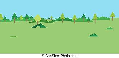 牧草地, 青, 光景, forest., 風景, 緑, 現場, フィールド, 自然, sky.
