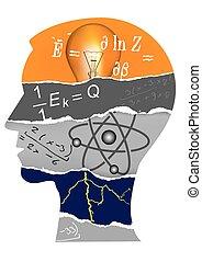 物理学, 頭, シルエット, 学生