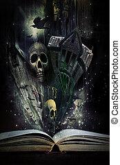 物語, ハロウィーン, 生きている, 本, 物語, 到来, 開いた