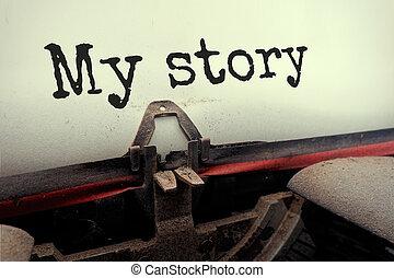 物語, 見通し, 光景, タイプライター, 古い, 私