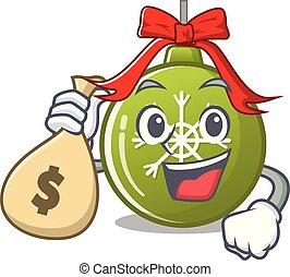 特徴, ボール, 緑, クリスマス, 袋, お金