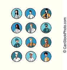 特徴, 労働者, グループ, avatar