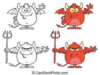 特徴, 怒る, 悪魔, コレクション