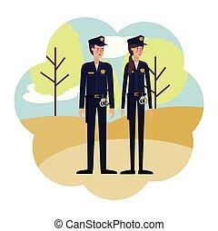 特徴, 恋人, 警察, avatar, 風景