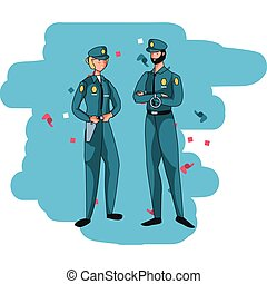 特徴, 恋人, avatars, polices, 役人