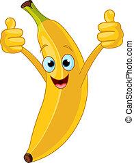 特徴, 漫画, 朗らかである, バナナ